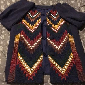 Vintage blue abstract jacket/ sweater